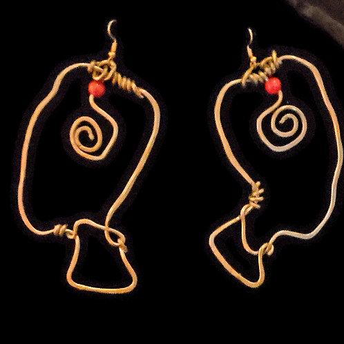 Copper Face Earrings