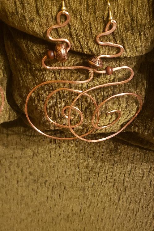Copper Snake Earring