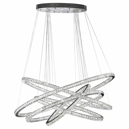 GALAXY CHANDELIER, CLEAR CRYSTAL , CHROME FINISH , 94+8 LED LIGHT