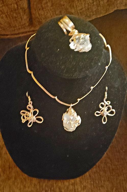 Clear Quartz & Brass Necklace Set