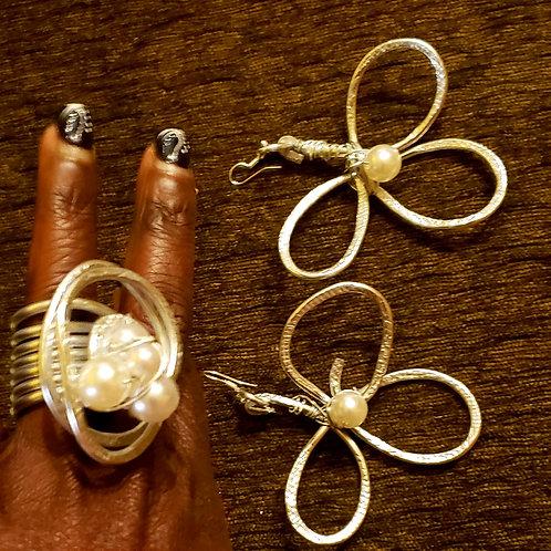 Floral Ring & Ear Set