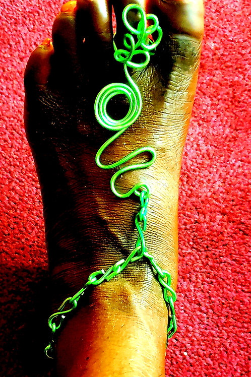 Green Foot Chain with Matching Ring