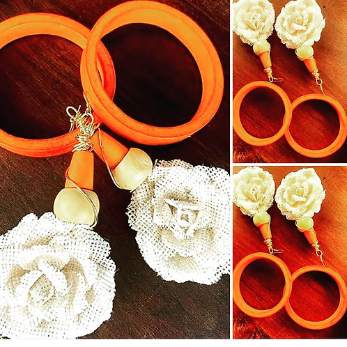 White Rose Earring and Bracelet Set