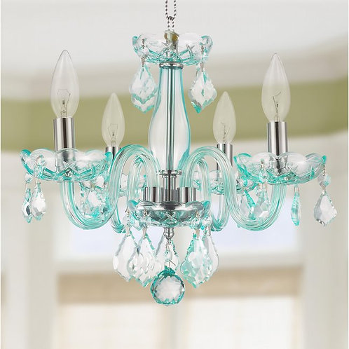 CLARION 4 LIGHT CHROME FINISH CORAL BLUE CRYSTAL CHANDELIER