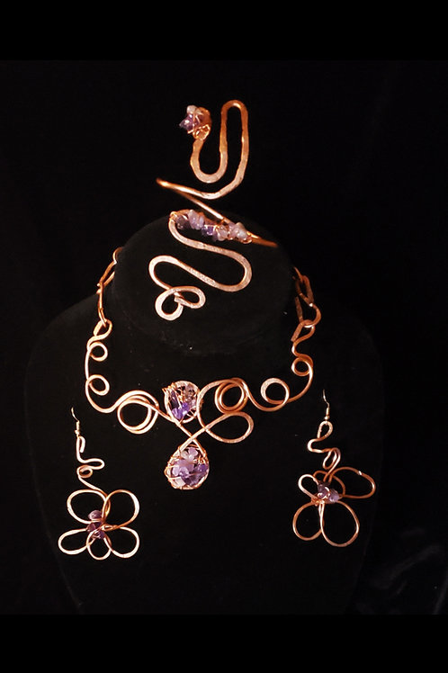 Copper and Amethyst Crystal Set