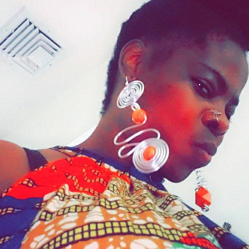 Silver Orange Power Earrings