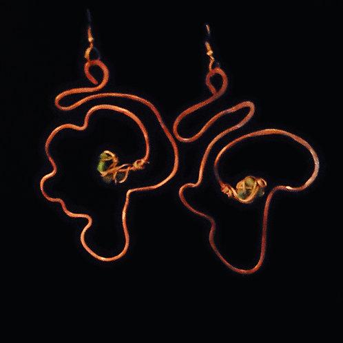 Africa in Copper Earrings