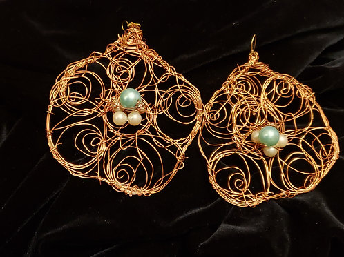 Copper Blue Stone Earrings