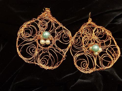 Copper Blue Stone Earrings
