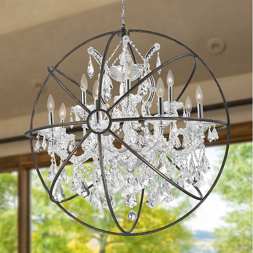 """ARMILLARY CHANDELIER, D33"""" X H35"""", 13 LIGHT, CHROME FINISH AND CLEAR CRYSTAL WIT"""