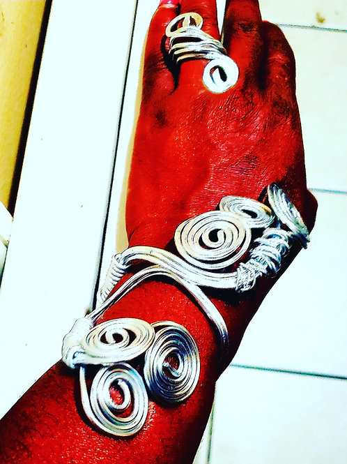 Silver Snake Branch Bracelet Set