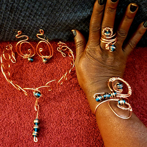 Blue Stone Copper Crown Set