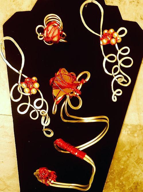 Silver red rose branch bracelet set