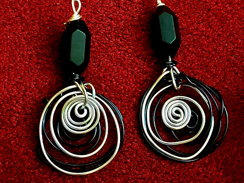 Black Cats Eye Earrings