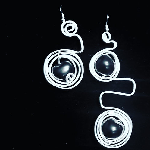 Silver Black Drop Earrings