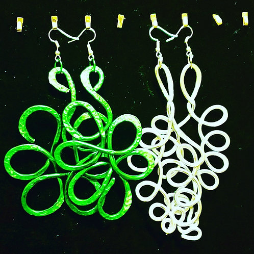 Green and Silver Leaf Earrings