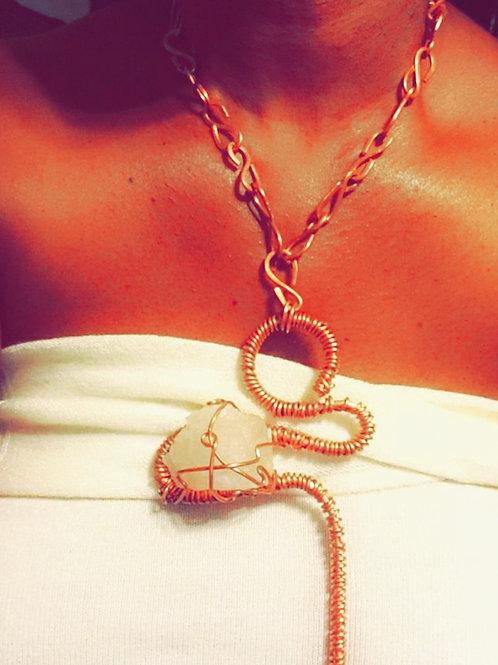 Unisex Copper Clear Quartz Crystal Necklace