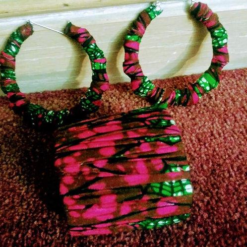 African Print Set - Pink & Green