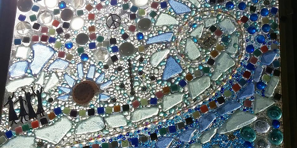 Found Object Mosaic on Glass