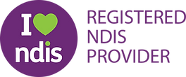 NDIS logo with the words I love NDIS written inside purple circle and words registered NDIS provider
