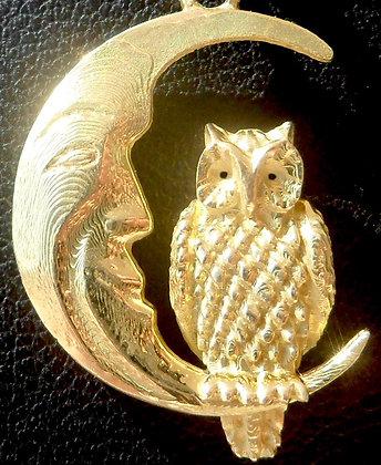 VINTAGE MOON & HIS OWL CHARM PENDANT
