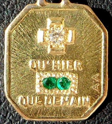 '+ QU'HIER - QUE DEMAIN ' THE 40'S CHARM PENDANT SIGNED A.AUGIS