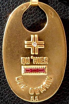 '+ QU'HIER - QUE DEMAIN ' THE 80'S CHARM PENDANT SIGNED A.AUGIS