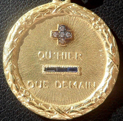 VINTAGE FRENCH '+ QU'HIER - QUE DEMAIN ' THE 40S CHARM PENDANT, SIGNED A