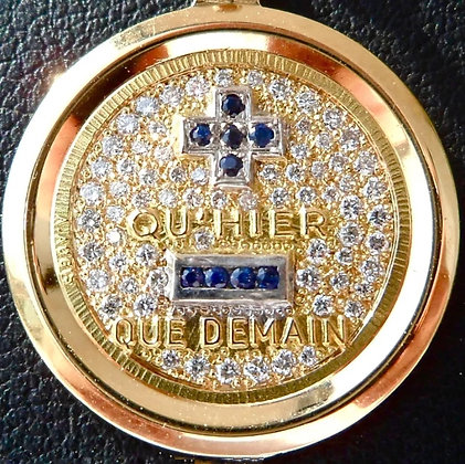 VINTAGE FRENCH '+ QU'HIER - QUE DEMAIN ' THE 80'S CHARM PENDANT SIGNED A.AUGIS