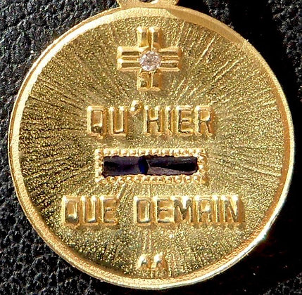 VINTAGE FRENCH '+ QU'HIER - QUE DEMAIN ' THE 50'S CHARM PENDANT SIGNED AUGIS