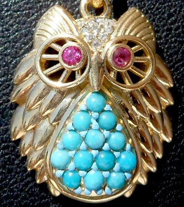 VINTAGE FRENCH ' MIDNIGHT OWL ' THE 80s CHARM PENDANT