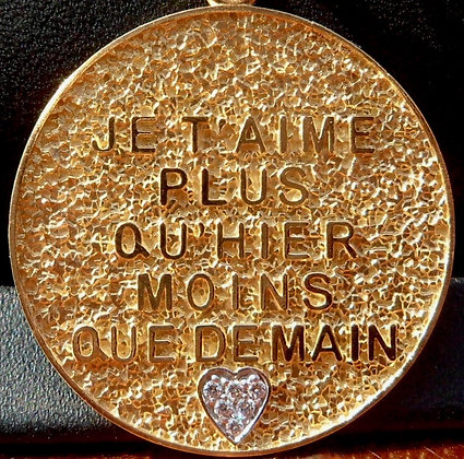 VINTAGE FRENCH '+ QU'HIER - QUE DEMAIN ' 60'S CHARM PENDANT MEYRIN