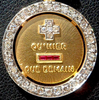 VINTAGE FRENCH ' + QU'HIER - QUE DEMAIN ' THE 60s CHARM PENDANT SIGNED A