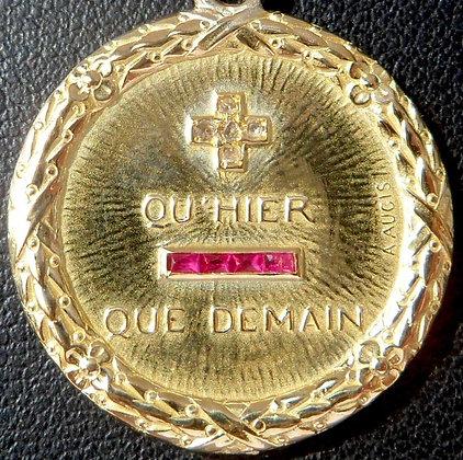 VINTAGE FRENCH '+ QU'HIER - QUE DEMAIN ' THE 40S CHARM PENDANT, SIGNED A.AUGIS