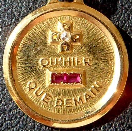 RARE VINTAGE FRENCH '+ QU'HIER - QUE DEMAIN ' 40'S CHARM PENDANT SIGNED AUGIS