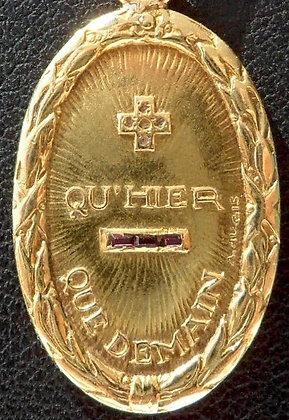 RARE VINTAGE FRENCH '+ QU'HIER - QUE DEMAIN ' 30'S CHARM PENDANT SIGNED AUGIS
