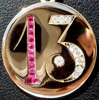 VINTAGE ART NOUVEAU LUCKY ' 13 ' CHARM / PENDANT