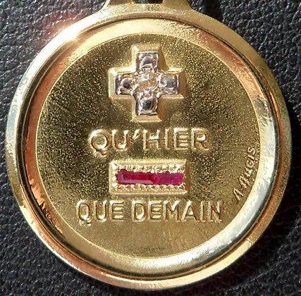 VINTAGE FRENCH '+ QU'HIER - QUE DEMAIN ' THE 70S CHARM PENDANT, SIGNED A.AUGIS
