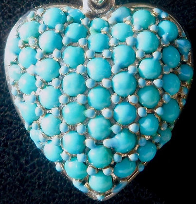 VINTAGE FRENCH 'TURQUOISE ' THE 50S HEART PENDANT