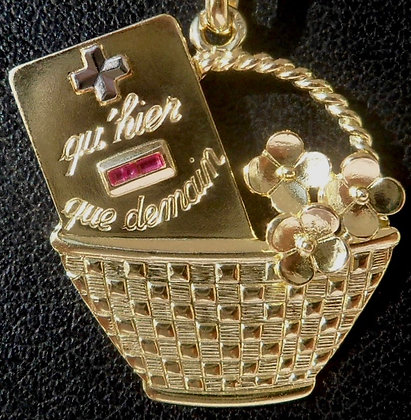 VINTAGE FRENCH '+ QU'HIER - QUE DEMAIN ' THE 90S PENDANT SIGNED AUGIS