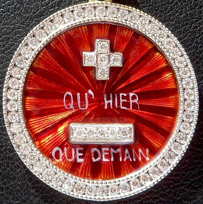 VINTAGE FRENCH ' + QH'HIER - QUE DEMAIN ' ENAMED GUILLOCHED CHARM PENDANT