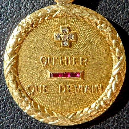'+ QU'HIER - QUE DEMAIN ' THE 20'S CHARM PENDANT SIGNED A.AUGIS