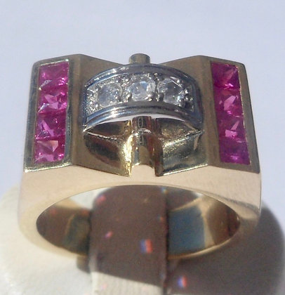 VINTAGE FRENCH ART DECO TANK RING THE 40'S