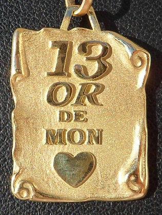 VINTAGE FRENCH ' 13 OR DE MON COEUR ' CHARM / PENDANT