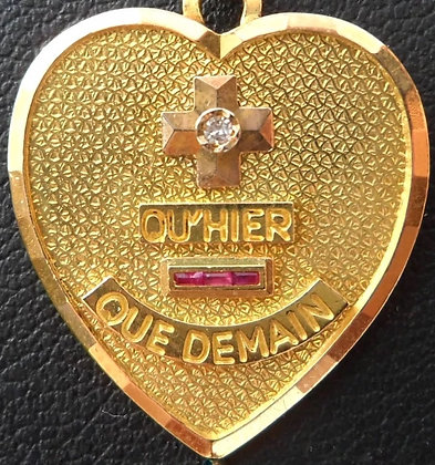 VINTAGE '+ QU'HIER - QUE DEMAIN ' THE 50'S CHARM PENDANT SIGNED A.AUGIS