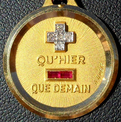 '+ QU'HIER - QUE DEMAIN ' THE 60'S CHARM PENDANT SIGNED A.AUGIS