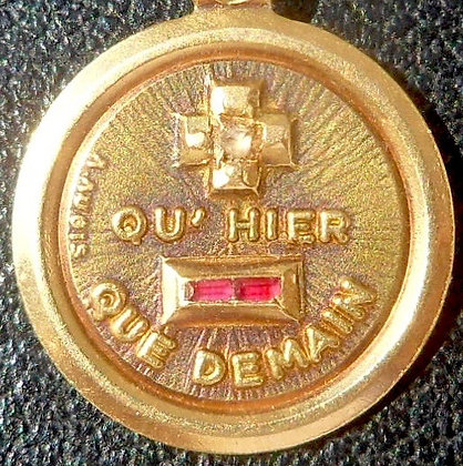 VINTAGE FRENCH '+ QU'HIER - QUE DEMAIN ' THE 20S PENDANT SIGNED AUGIS