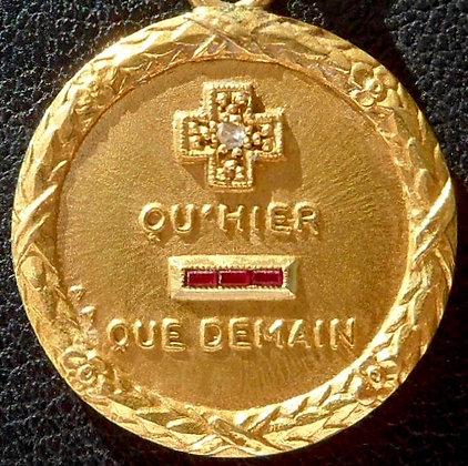 VINTAGE FRENCH '+ QU'HIER - QUE DEMAIN ' 50'S CHARM PENDANT AUGIS