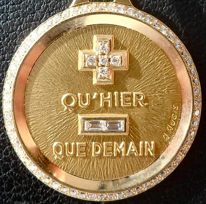 '+ QU'HIER - QUE DEMAIN ' THE 90'S CHARM PENDANT SIGNED A.AUGIS