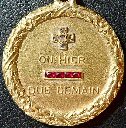 FRENCH '+ QU'HIER - QUE DEMAIN ' CHARM PENDANT, SIGNED A.AUGIS